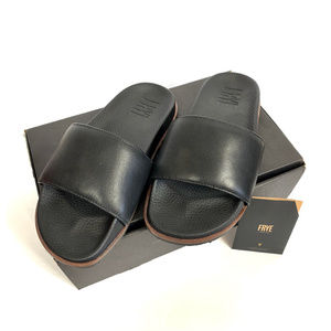 FRYE Emerson Slide Sandals Black Vintage Leather